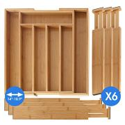 SleekDine Silverware Drawer Organizer - Kitchen Bamboo Drawer Organizer