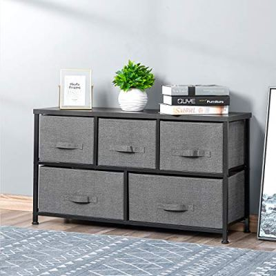 Drawer Dresser Storage Organizer 5-Drawers for Closet, Sturdy Steel Frame