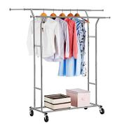 LANGRIA Double Rail Garment Racks Clothes Racks Commercial Grade