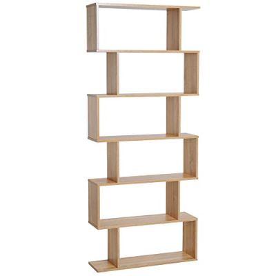 "HOMCOM 75.5"" H Bookcase 6 Shelf S-Shaped Bookshelf Wooden Storage"