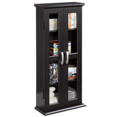 Walker Edison 4 Tier Shelf Living Room Storage Tall Bookshelf Cabinet Doors