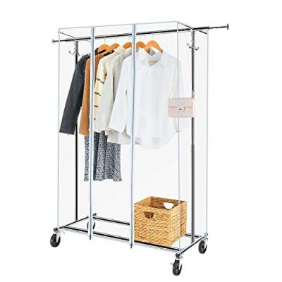 Greenstell Garment Rack with PVC Cover on Wheels,Heavy Duty Adjustable Clothing