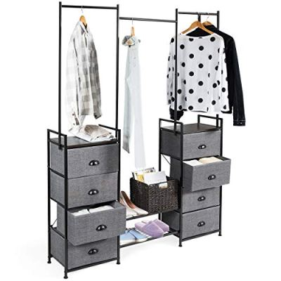 Tangkula Fabric Drawer Dresser with Clothes Rail Shoe Rack