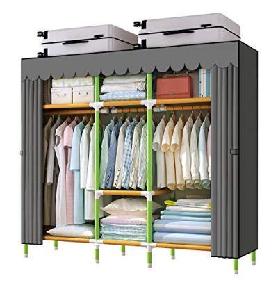 "YOUUD 68"" Wardrobe Storage Closet Colored Rod and Dark Grey Cover"