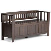Simpli Home Acadian Solid Wood 48 inch Wide Rustic Entryway Storage Bench