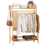 COPREE Bamboo Garment Coat Clothes Hanging Heavy Duty Rack