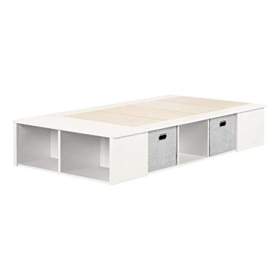 South Shore Flexible Platform Bed with Baskets-Twin-Pure White
