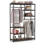 Tribesigns Free-Standing Closet Organizer, Double Hanging Rod Clothes
