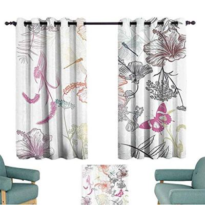 YOFUHOME Country Decor Bedroom Balcony Living Room Curtain Floral Design