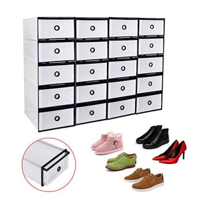 WANLECY 20 Pack Push Drawer Type Stackable Shoe Box Case
