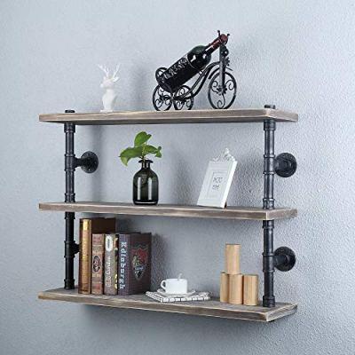 GWH Industrial Pipe Shelf Wall Mounted,3 Tier Rustic Metal Floating Shelves