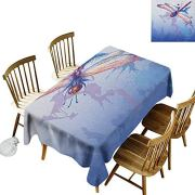 DONEECKL Dragonfly Colorful Tablecloth Protection Table Colorful Purple