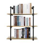 YU YUSING 3 Tier Industrial Pipe Shelf with Wood & Metal