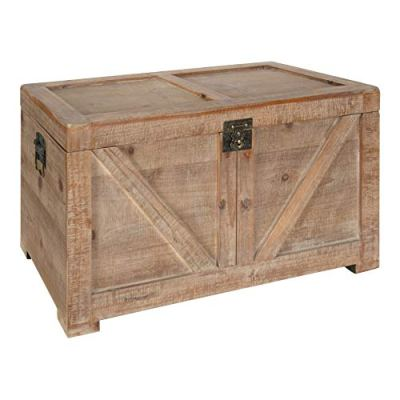 """Kate and Laurel Cates Rustic Wood Trunk, 14.5"""" x 28"""" x 14.5"""", Brown"""