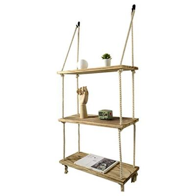 Boutiquemall Swing Rope Floating Shelves, Farmhouse Rope Hanging Shelves