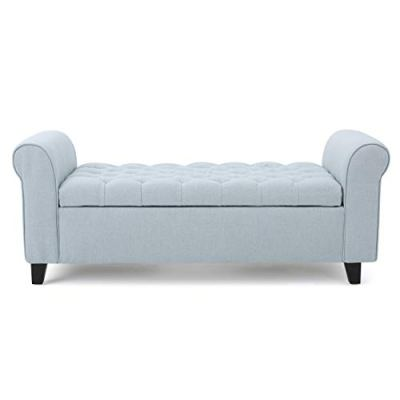 Christopher Knight Home Charlemagne Light Sky Tufted Fabric Armed Storage Bench