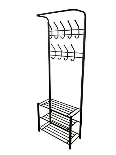 Black Metal Entryway Storage 3-tier Shoe with Coat Hat Rack