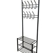 Black Metal Entryway Storage 3-tier Shoe with Coat Hat Rack