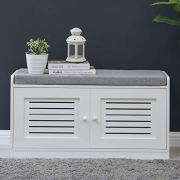 Sturdis Shoe Storage Bench White - Cushion Seat - Adjustable Shelves