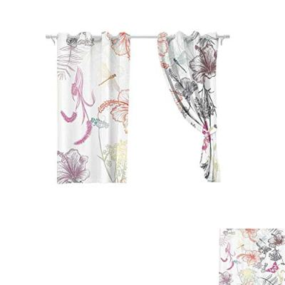 DONEECKL Insulated Sunshade Curtain Country Decor Floral Design