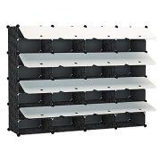 KOUSI 4 x 8-Tier Shoe Rack Shoe Tower Storage Cabinet Shoe