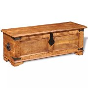 vidaXL Rustic Storage Chest Trunk Handmade Unique Coffee Table Rough Mango Solid Wood