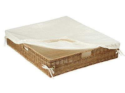 KOUBOO Wicker Under Bed Basket with Liner and Cover