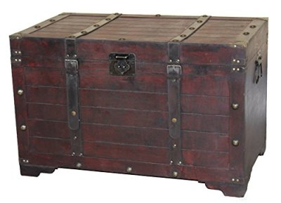 Vintiquewise Large Wooden Antique Storage Trunk, Cherry