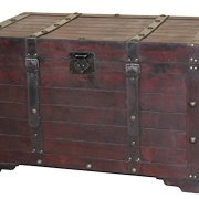 Vintiquewise Large Wooden Antique Storage Trunk, Cherry
