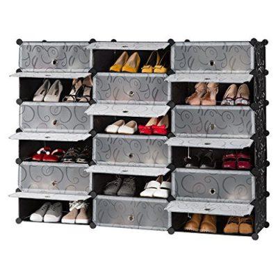 LANGRIA 18-Cube DIY Shoe Rack, Storage Drawer Unit Multi Use