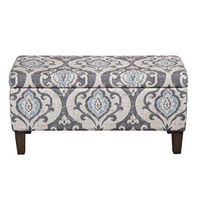 HomePop Large Upholstered Rectangular Storage Ottoman Bench