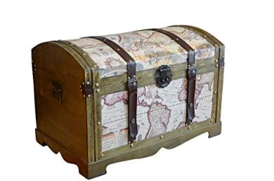 Styled Shopping Victorian Ancient World Map Wooden Trunk Wood Treasure Chest