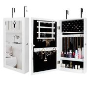 Homde Lockable Jewelry Cabinet Armoire Wall-Mounted with Mirror Jewelry Storage