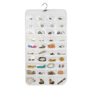 Rekukos Hanging Jewelry Organizer Holder Bag Double Sided Storage 80 Pockets (Clear)