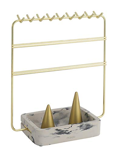 Nakko Modern Jewelry Organizer   Gold Metal 3 Tier Necklace and Earring Display Rack with Ring Holder (Gold + Marble)