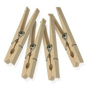 Honey-Can-Do DRY-01374 Wood Clothespins with Spring, 24-Pack, 3.3-inches Length
