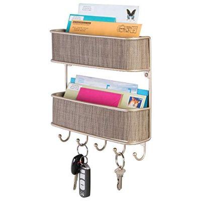 mDesign Wall Mount Metal Woven Mail Organizer Storage Basket