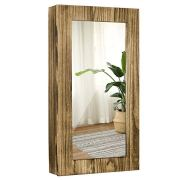 SRIWATANA Jewelry Cabinet Armoire, Solid Wood Jewelry Organizer with Mirror Wall/Door Mounted(Carbonized Black)
