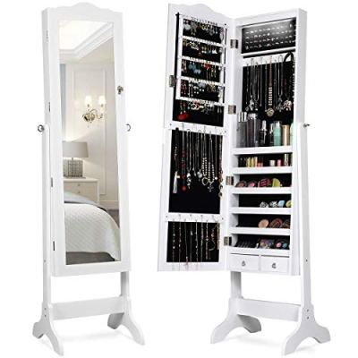Giantex Lockable Standing Jewelry Armoire with 14 Auto-on LED & Full Length
