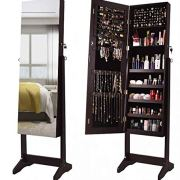 ORAF Jewelry Organizer,Jewelry Armoire Cabinet Standing Jewelry Box with Full Body Mirror and Large Storage Lockable Wooden Cabinet (Brown)