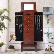 Gentle Shower Jewelry Cabinet with Mirror Jewellery Box Organizer Wooden Jewelry Storage Armoire Hanging 6 Drawers