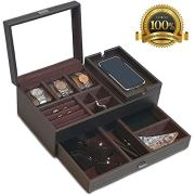 Amiglo Mens Valet Box Nightstand Organizer with Charging Station