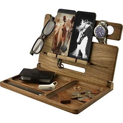 Natural Walnut Eco Wood 2 Cell Phone Stand Watch Holder. Foldable Men Device