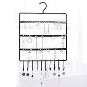 lemonadeus Jewelry Hooks Storage Hanging Organizer,Earring Holder Necklace Jewelry Display Stand (Space Saver) Hanging Jewelry, Rings, Necklaces, Bracelets (10 hooks/64hooks) (Black(72holes10hooks))