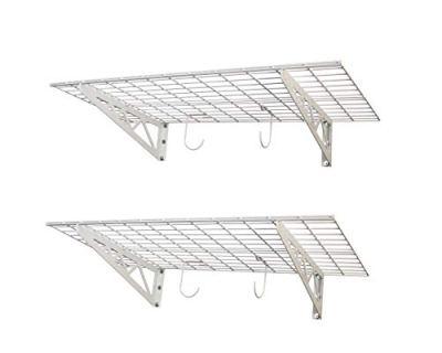 "SafeRacks | Garage Wall Shelf Two-Pack 24""x48"" | Includes Bike Hooks"