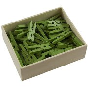 JAM PAPER Wood Clip Clothespins - Medium - 1 1/8 Inch - Green - 50 Clothes Pins/Pack