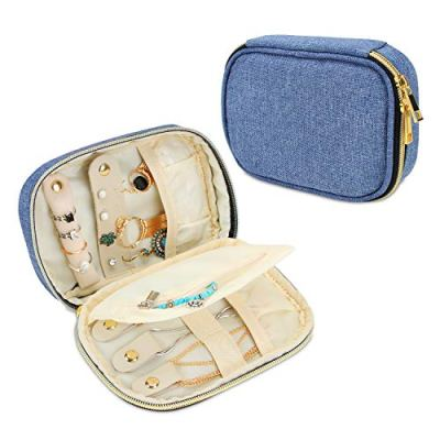 Teamoy Small Jewelry Travel Case, Portable Jewelry Organizer Bag for Earrings, Necklace, Rings and More, Small, Blue-(Bag Only)