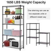 5 Tier Storage Shelves Metal Wire Shelving Unit Height Adjustable NSF Heavy Duty Garage Shelving Commercial Grade Utility Shelf Rack for Restaurant Basement Garage Kitchen