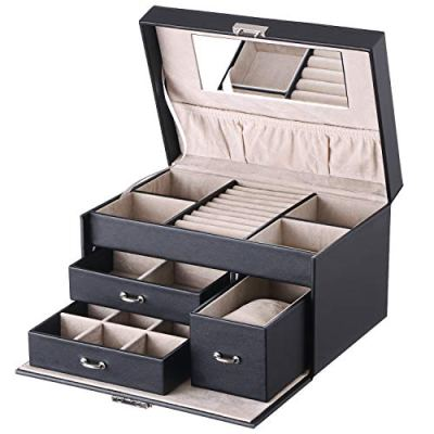 BEWISHOME 20 Section Jewelry Organizer Box with Lock Portable Jewelry Storage Case for Women Girls Earring Ring Necklace Holder Travel Case - Black Faux Leather SSH78B