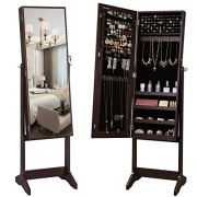 SONGMICS Mirrored Jewelery Cabinet Armoire, Free Standing Full Body